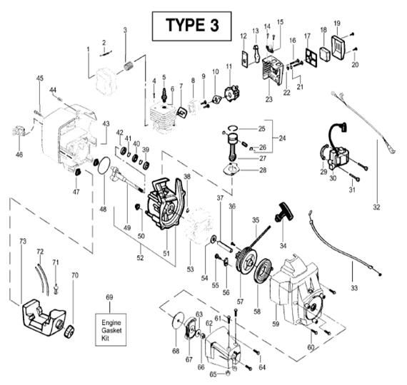 BC2400 Engine Parts T3