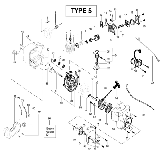 BC2400 Engine Parts T5