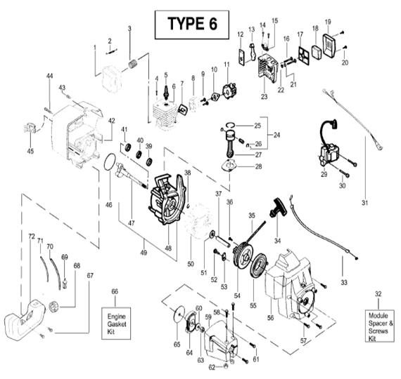 BC2400 Engine Parts T6